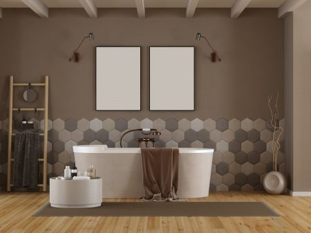 bathroom, bathtub, furniture, room, wall, brown, home, tiles, gray, hexagonal, hexagon, ladder, beige, wood, minimalist, white, beams, radiator, decor, design, towels, cement, architecture, interior, apartment, elegant, light, indoor, floor, carpet, mirror, plant, horizontal, objects, nobody, 3d, 3d rendering, bathroom, bathtub, furniture, room, wall, brown, home, tiles, gray, hexagonal, hexagon, ladder, beige, wood, minimalist, white, beams, radiator, decor, design, towels, cement, architecture, interior, apartment, elegant, light, indoor, floor, carpet, mirror, plant, horizontal, objects, nobody, 3d, 3d rendering