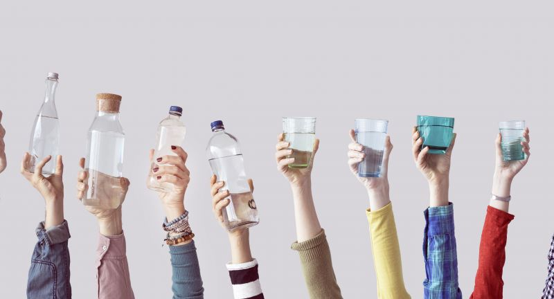 drinking water, glass, water, bottle, hand, holding, people, drink, clear, clean, healthy, beverage, raised up, hands up, diversity, many, hold, holding bottle, different, thirsty