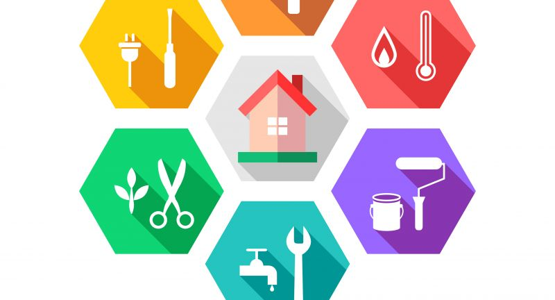 house, maintenance, facilities, facility, management, logo, tools, icon, set, repair, concept, business, isolated, renovate, renovation, utensil, instrument, building, tool, home, craftsman, handyman, repairman, painter, electrician, plumber, flat, design, element, vector, illustration, color, colorful, work, working, hexagon, shape, around
